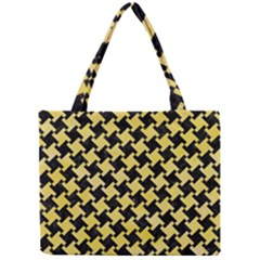 Houndstooth2 Black Marble & Yellow Watercolor Mini Tote Bag