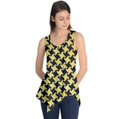 Houndstooth2 Black Marble & Yellow Watercolor Sleeveless Tunic
