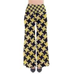 Houndstooth2 Black Marble & Yellow Watercolor Pants