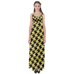 Houndstooth2 Black Marble & Yellow Watercolor Empire Waist Maxi Dress