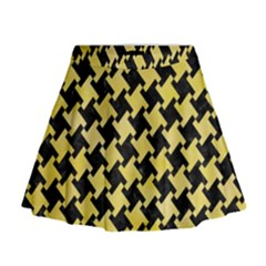 Houndstooth2 Black Marble & Yellow Watercolor Mini Flare Skirt