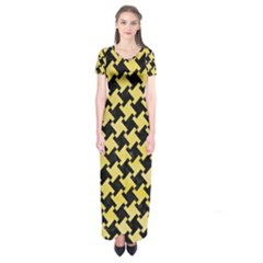 Houndstooth2 Black Marble & Yellow Watercolor Short Sleeve Maxi Dress