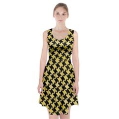 Houndstooth2 Black Marble & Yellow Watercolor Racerback Midi Dress