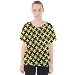 Houndstooth2 Black Marble & Yellow Watercolor V Neck Dolman Drape Top