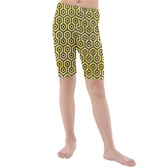 Hexagon1 Black Marble & Yellow Watercolor Kids  Mid Length Swim Shorts