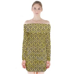 Hexagon1 Black Marble & Yellow Watercolor Long Sleeve Off Shoulder Dress