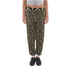 Hexagon1 Black Marble & Yellow Watercolor (r) Women s Jogger Sweatpants