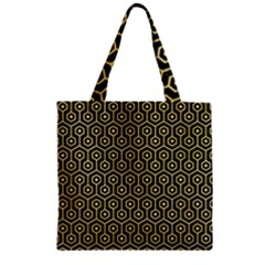 Hexagon1 Black Marble & Yellow Watercolor (r) Zipper Grocery Tote Bag
