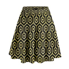 Hexagon1 Black Marble & Yellow Watercolor (r) High Waist Skirt