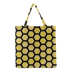 Hexagon2 Black Marble & Yellow Watercolor Grocery Tote Bag