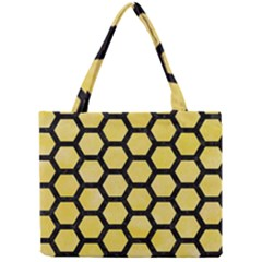 Hexagon2 Black Marble & Yellow Watercolor Mini Tote Bag