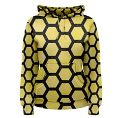 Hexagon2 Black Marble & Yellow Watercolor Women s Pullover Hoodie