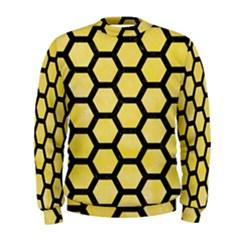 Hexagon2 Black Marble & Yellow Watercolor Men s Sweatshirt