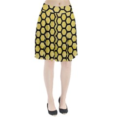 Hexagon2 Black Marble & Yellow Watercolor Pleated Skirt