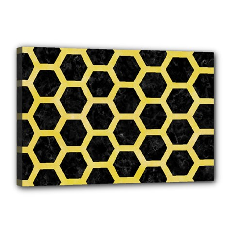 Hexagon2 Black Marble & Yellow Watercolor (r) Canvas 18  X 12