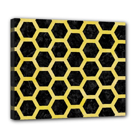 Hexagon2 Black Marble & Yellow Watercolor (r) Deluxe Canvas 24  X 20