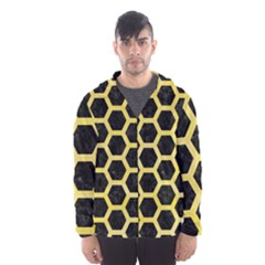 Hexagon2 Black Marble & Yellow Watercolor (r) Hooded Wind Breaker (men)