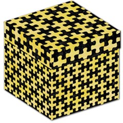 Puzzle1 Black Marble & Yellow Watercolor Storage Stool 12