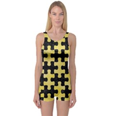 Puzzle1 Black Marble & Yellow Watercolor One Piece Boyleg Swimsuit