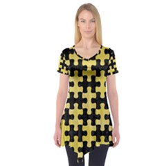 Puzzle1 Black Marble & Yellow Watercolor Short Sleeve Tunic