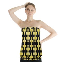 Puzzle1 Black Marble & Yellow Watercolor Strapless Top
