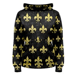 Royal1 Black Marble & Yellow Watercolor Women s Pullover Hoodie