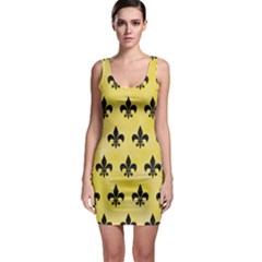 Royal1 Black Marble & Yellow Watercolor (r) Bodycon Dress