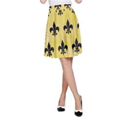 Royal1 Black Marble & Yellow Watercolor (r) A Line Skirt