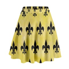 Royal1 Black Marble & Yellow Watercolor (r) High Waist Skirt