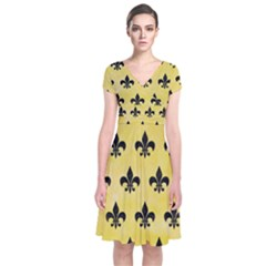 Royal1 Black Marble & Yellow Watercolor (r) Short Sleeve Front Wrap Dress