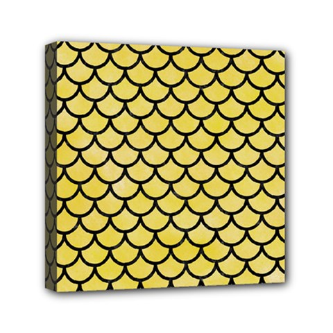 Scales1 Black Marble & Yellow Watercolor Mini Canvas 6  X 6