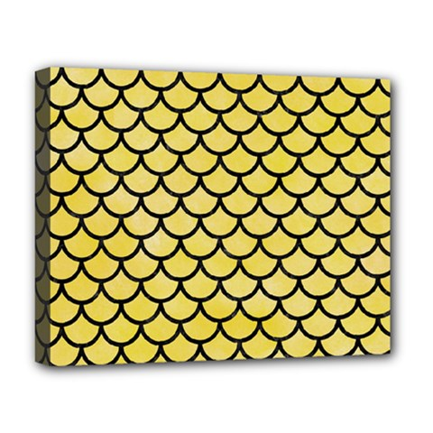 Scales1 Black Marble & Yellow Watercolor Deluxe Canvas 20  X 16