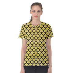 Scales1 Black Marble & Yellow Watercolor Women s Cotton Tee