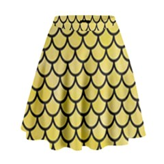 Scales1 Black Marble & Yellow Watercolor High Waist Skirt