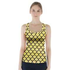 Scales1 Black Marble & Yellow Watercolor Racer Back Sports Top