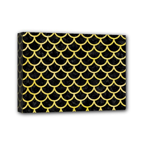 Scales1 Black Marble & Yellow Watercolor (r) Mini Canvas 7  X 5