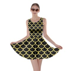 Scales1 Black Marble & Yellow Watercolor (r) Skater Dress