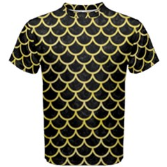 Scales1 Black Marble & Yellow Watercolor (r) Men s Cotton Tee