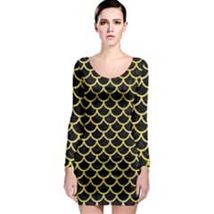 Scales1 Black Marble & Yellow Watercolor (r) Long Sleeve Bodycon Dress