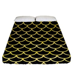 Scales1 Black Marble & Yellow Watercolor (r) Fitted Sheet (queen Size)