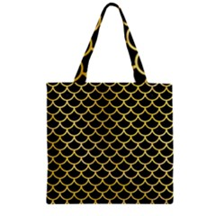 Scales1 Black Marble & Yellow Watercolor (r) Zipper Grocery Tote Bag