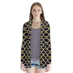 Scales1 Black Marble & Yellow Watercolor (r) Drape Collar Cardigan