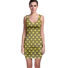 Scales2 Black Marble & Yellow Watercolor Bodycon Dress
