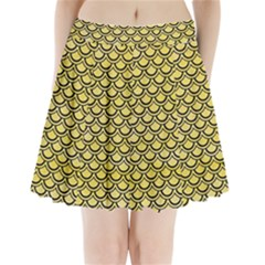 Scales2 Black Marble & Yellow Watercolor Pleated Mini Skirt