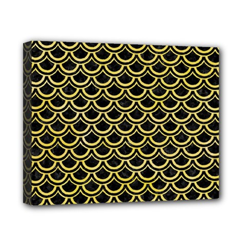 Scales2 Black Marble & Yellow Watercolor (r) Canvas 10  X 8
