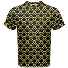 Scales2 Black Marble & Yellow Watercolor (r) Men s Cotton Tee