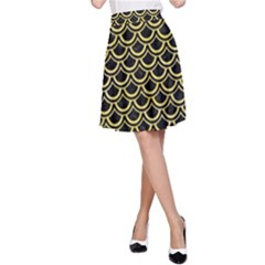 Scales2 Black Marble & Yellow Watercolor (r) A Line Skirt