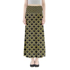 Scales2 Black Marble & Yellow Watercolor (r) Full Length Maxi Skirt