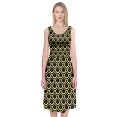 Scales2 Black Marble & Yellow Watercolor (r) Midi Sleeveless Dress