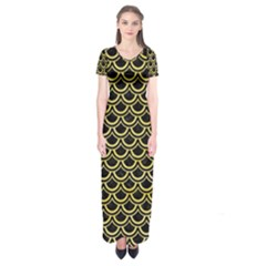 Scales2 Black Marble & Yellow Watercolor (r) Short Sleeve Maxi Dress